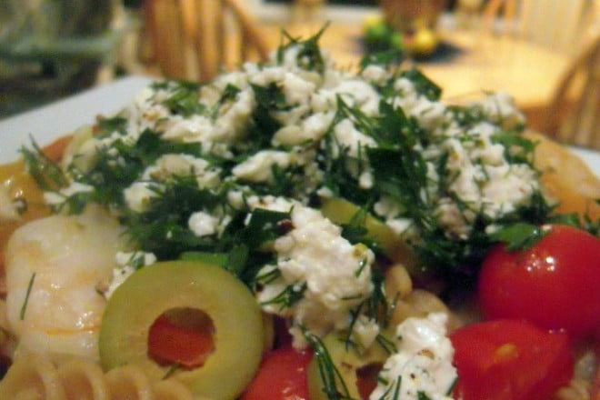 Easy recipe for shrimp salad with feta and olives from COOKtheSTORY.com