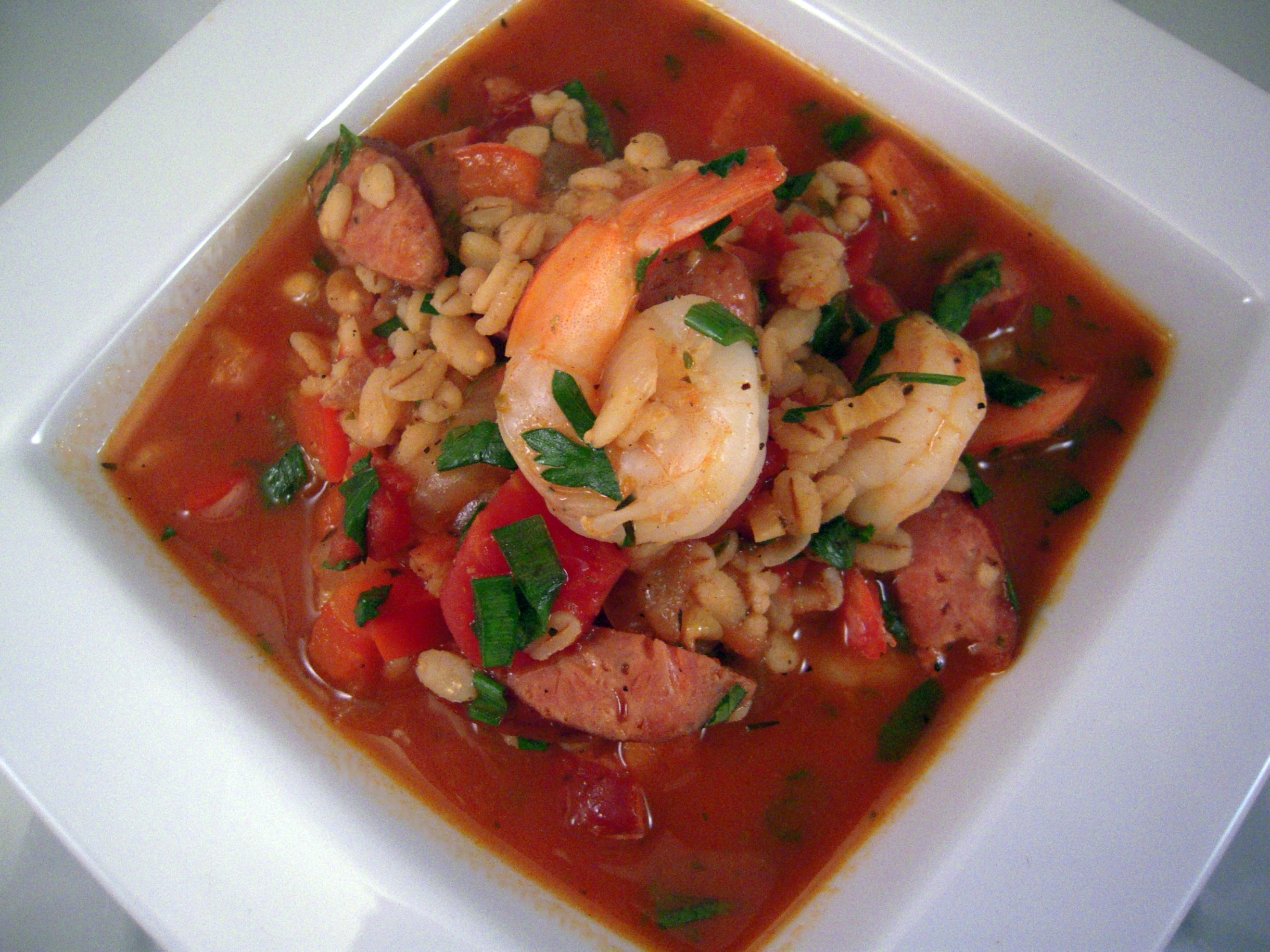 Smokey Shrimp and Sausage Soup with Barley