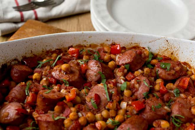 Chicke Pea and Kielbasa One Pan Dinner