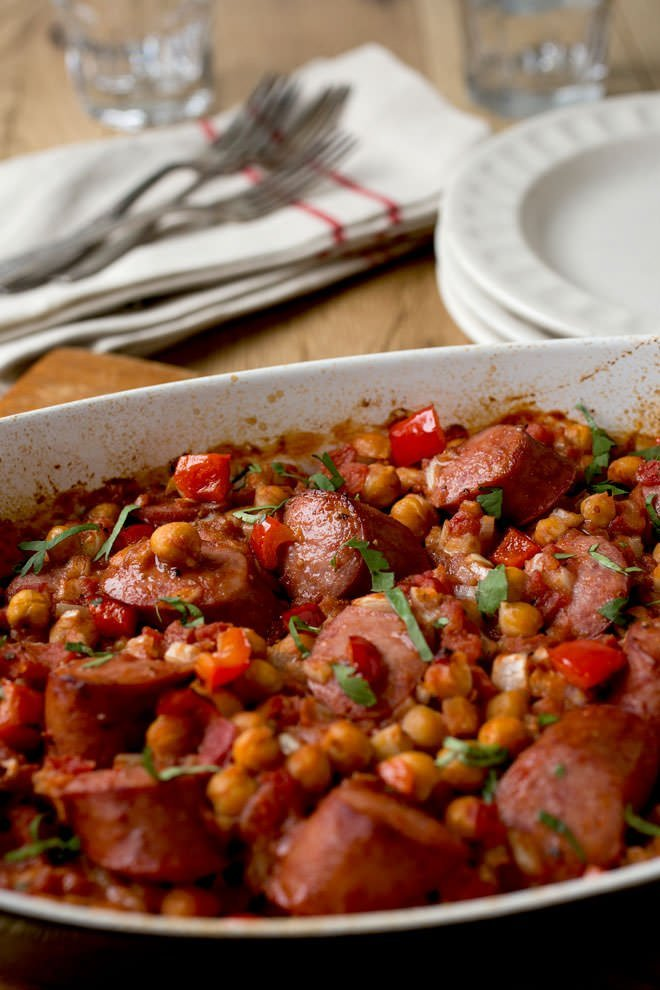 This is one of my favorite dinners. It's made in one pan with very little prep. Then it goes in the oven just until heated through. All in under 30 minutes. And the combination of kielbasa and chickpeas is so hearty and delicious.