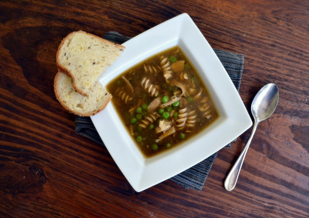 Dark Chicken Soup with Noodles, from cookthestory.com