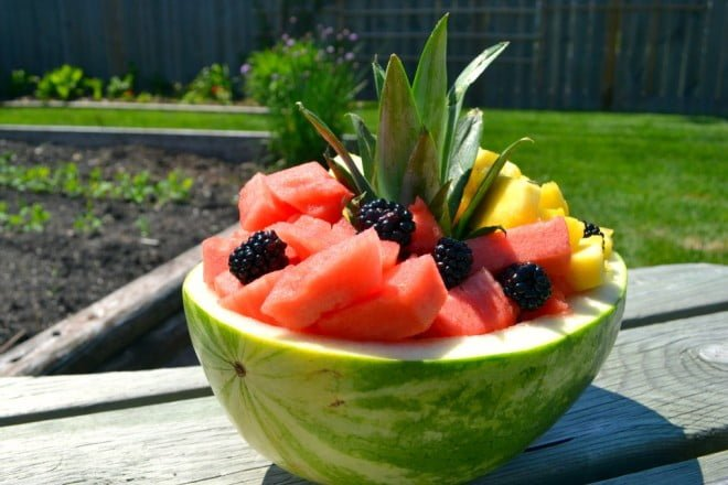 Fancy Fresh Fruit Watermelon Bowl - An impressive, healthy dessert for a summer picnic or BBQ party.