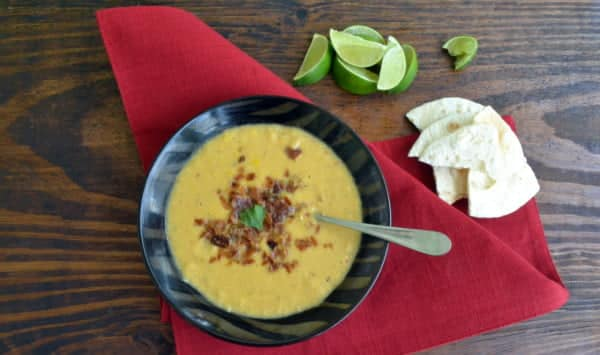 Chipotle and Corn Soup with Crispy Proscuitto
