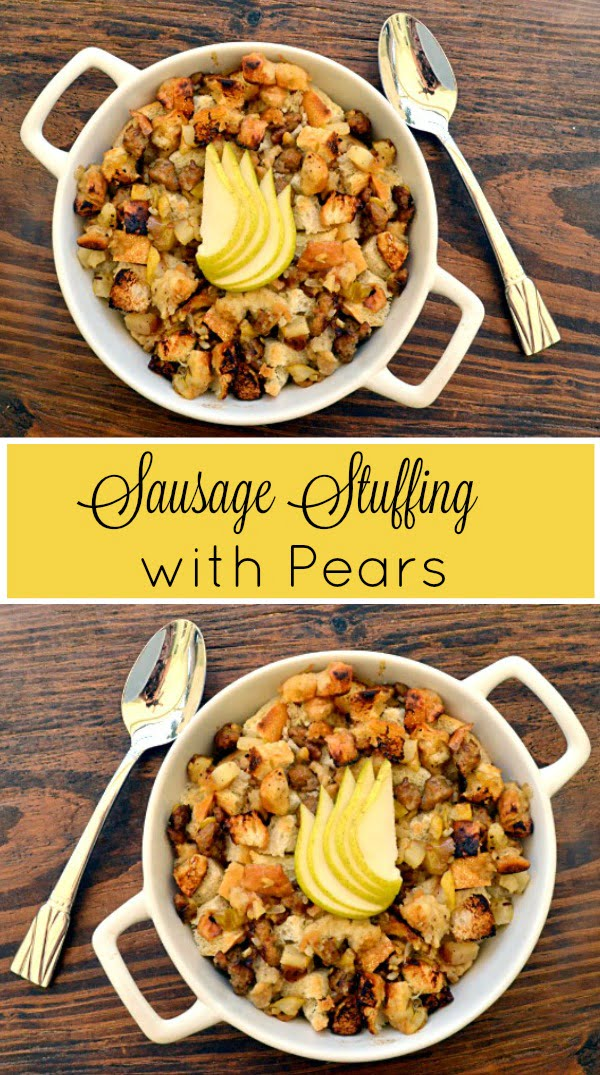 Sausage Stuffing with Pears - This baked stuffing recipe is moist on the inside and crispy on the outside. Perfect for Thanksgiving!