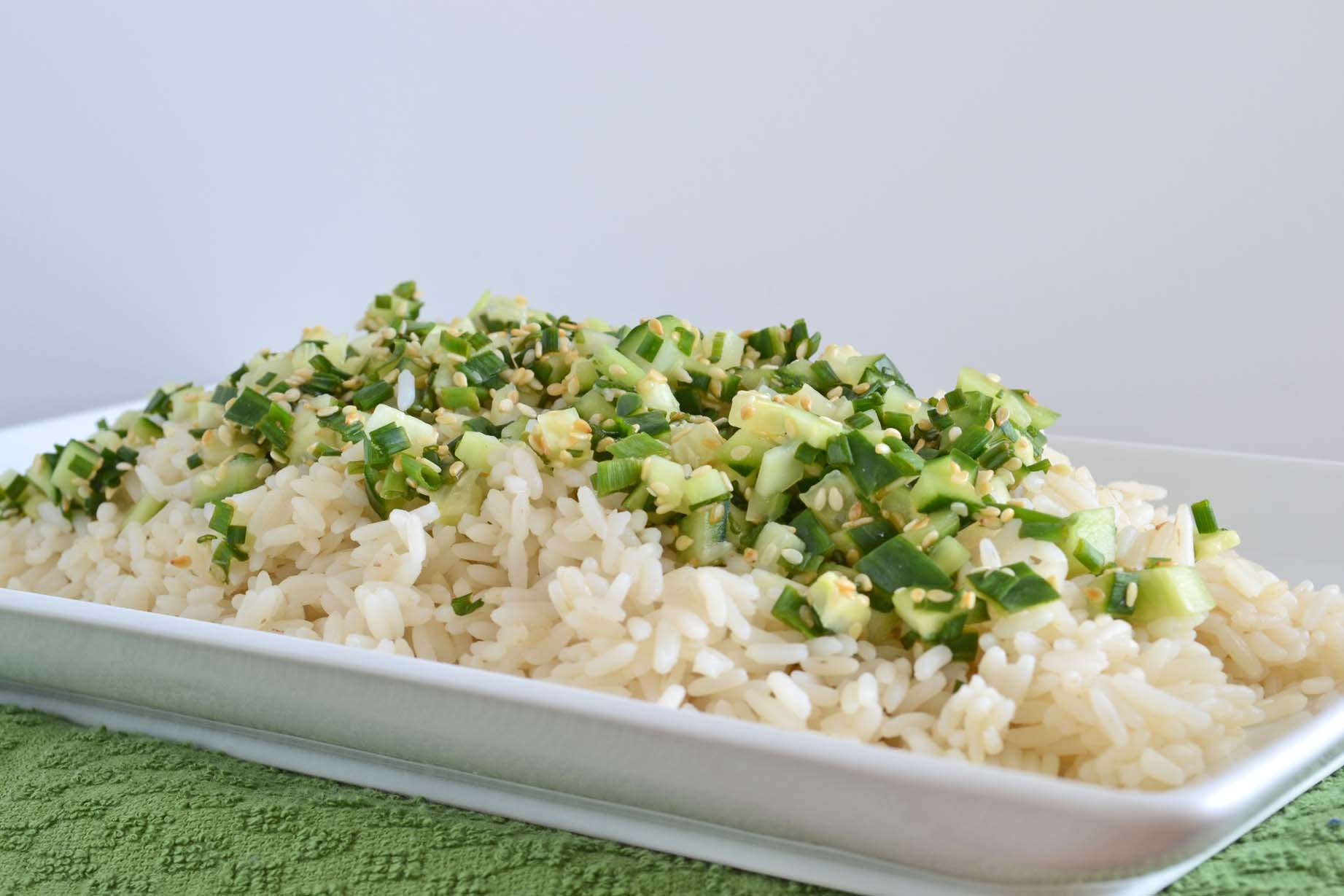 Sesame Rice with Cold Cucumber, Chives and Lime
