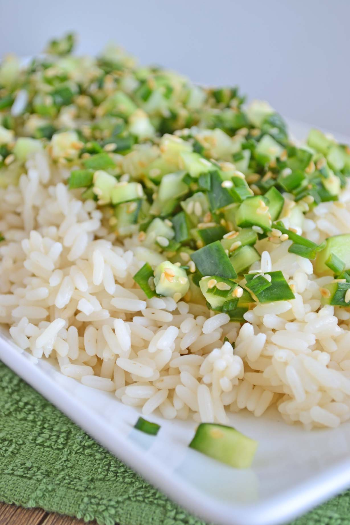 Warm Sesame Rice Salad with Cold Cucumber, Chive, and Lime