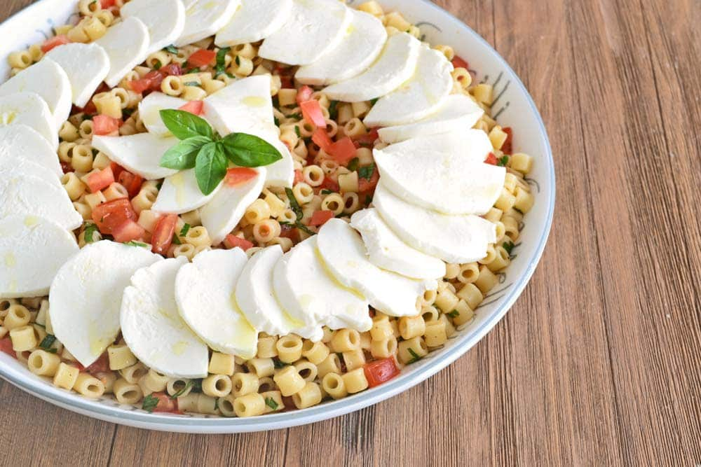 Make-Ahead Caprese Pasta Salad Recipe on COOKtheSTORY.com