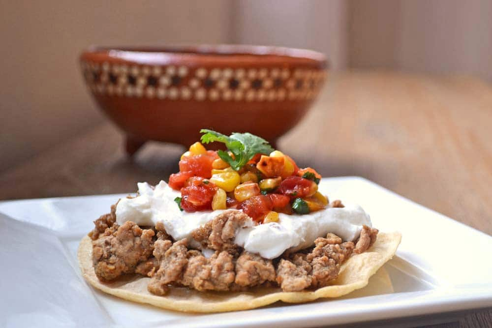 Quick and Easy Dinner Recipe for Tostadas with Roasted Corn Salsa - Get the recipes on COOKtheSTORY.com