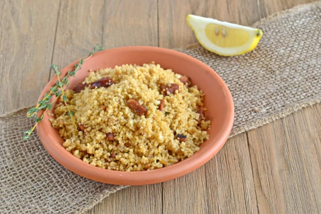 Simple Recipes and Tips for Prepping Dinner on Busy Nights - from COOKtheSTORY.com - Chorizo Couscous with Lemon and Thyme
