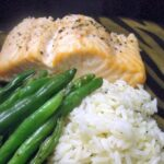 Simple Salt and Pepper Seasoned Salmon with Lemon Thyme Rice
