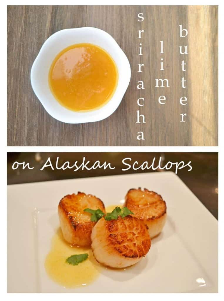 Alaskan Seared Scallops with Sriracha-Lime Butter - recipe from cookthestory.com