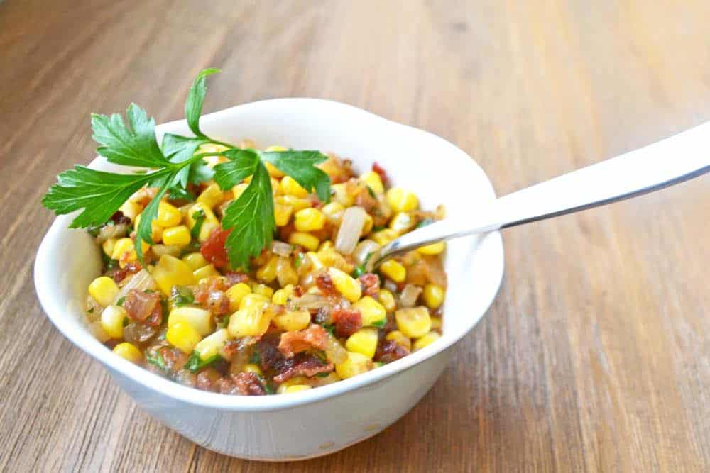 corn and bacon relish to be served with Alaskan halibut
