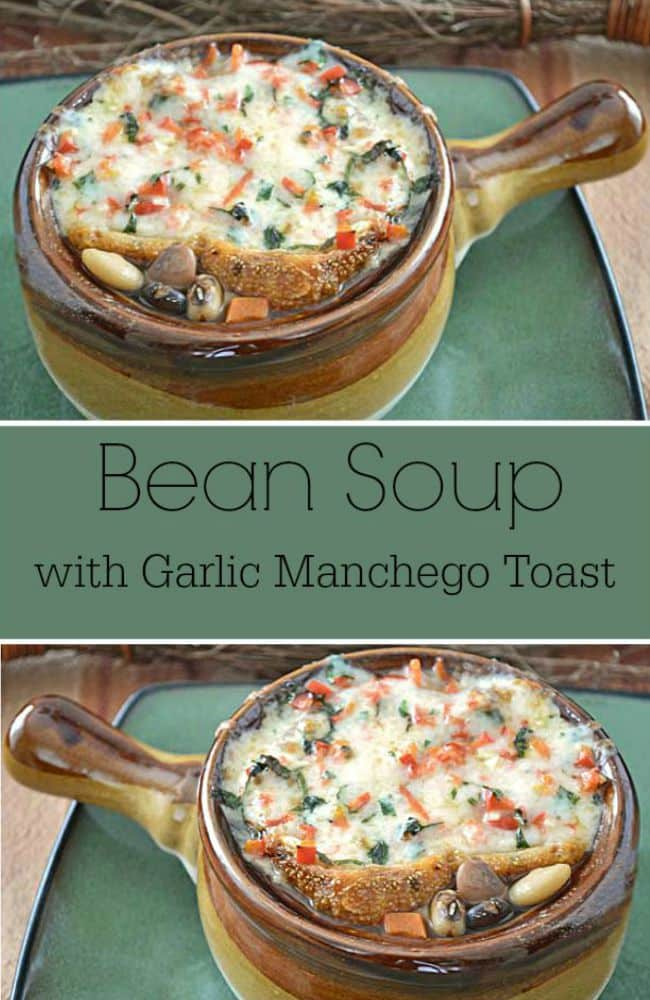 Hearty Bean Soup Recipe - This slow cooked soup recipe has 13 types of beans, and it's topped with a slice of garlic Manchego cheese toast. It's pure comfort food, full of fiber, and completely filling.