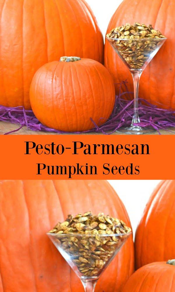 Pesto Parmesan Roasted Pumpkin Seeds