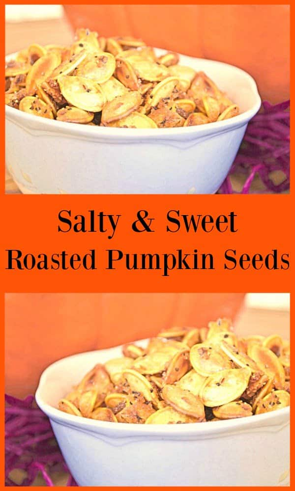 Salty Sweet Roasted Pumpkin Seeds in a white bowl in front of pumpkins.