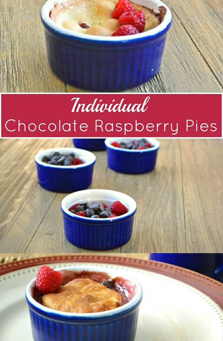 A super easy pie recipe! Combine raspberries, chocolate chips, and cream with store-bought pie crust and bake. The result is a chocolate raspberry ganache with a tender pastry top.