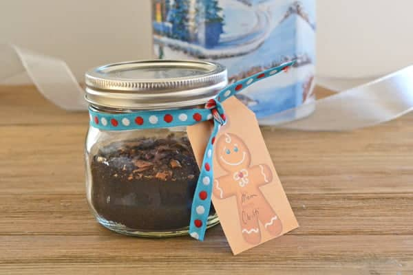 Christmas Coffee Blend in small mason jar with ribbon and tag.