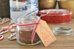 Candy Cane Hot Chocolate, a flavored hot chocolate to give as a homemade food gift. This goes really well with my free Christmas Gift Tags and Coordinating Recipe Tags