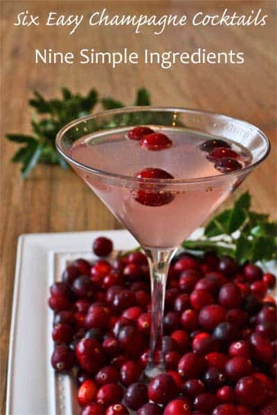 6 Easy Champagne Cocktails from 9 Simple Ingredients - The Poinsetta is a cranberry and orange flavored champagne cocktail