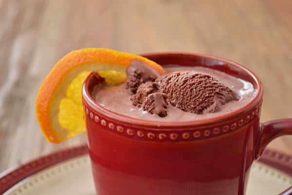 Boozy Orange Chocolate Ice Cream cocktail - an indulgence holiday drink!