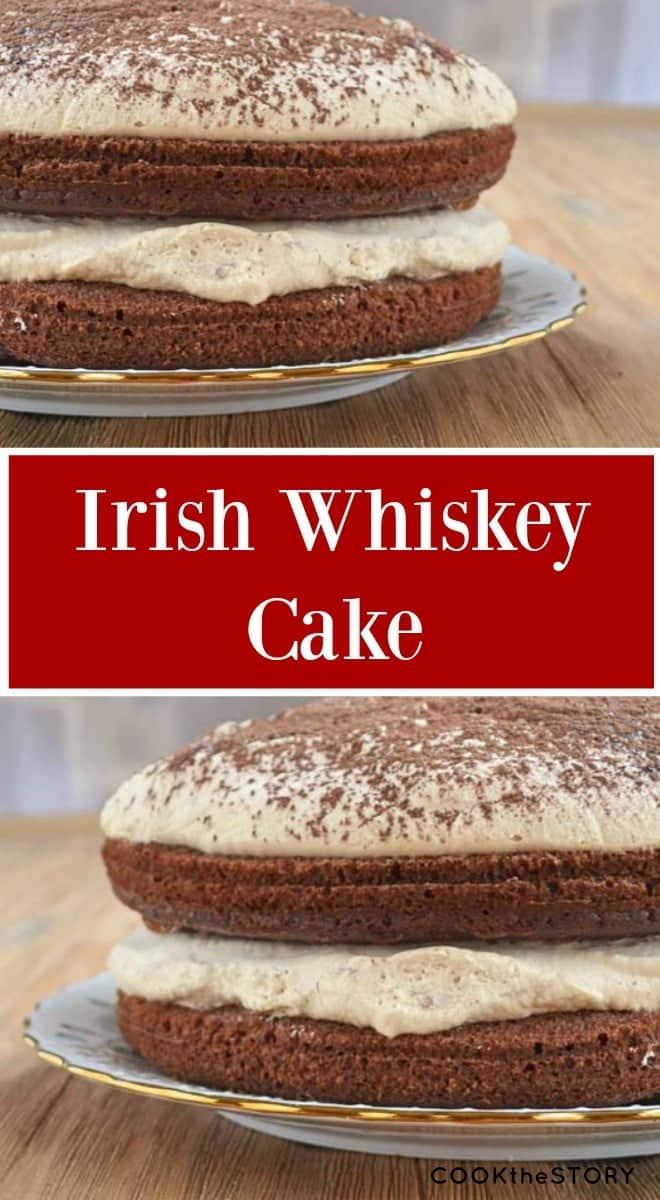 A really easy holiday dessert recipe: Chocolate cake spiked with coffee and whiskey, topped with boozy whipped cream. A perfect end to your holiday meal.
