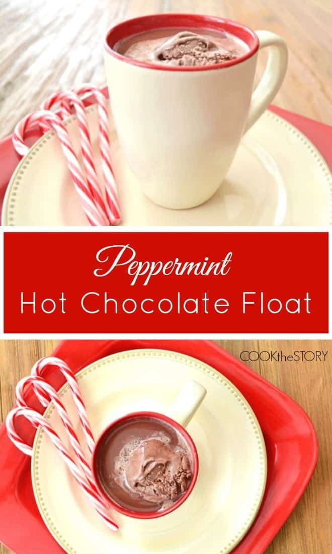 Peppermint Hot Chocolate Float Recipe, from COOKtheSTORY