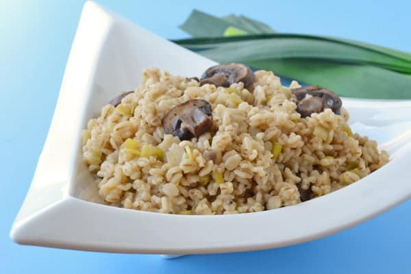 Healthy Barley Side Dish with Mushrooms and Leeks - Get the recipe from COOKtheSTORY.com