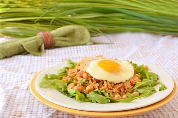 Gallo Pinto is a Nicaraguan dish of rice and beans that is sometimes topped with a fried egg.