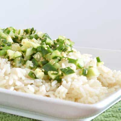 Sesame Rice with Cold Cucumber, Chive and Lime, an easy way to perk up a basic rice side dish by www.cookthestory.com