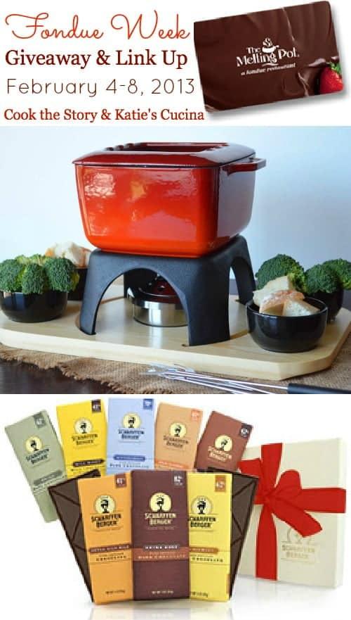 An assortment of fabulous fondue items for giveaway during fondue week, including a $100 Gift Certificate to The Melting Pot, a Swissmar Mont Blanc Fondue Pot and a Scharffen Bergen Chocolate Gift Box