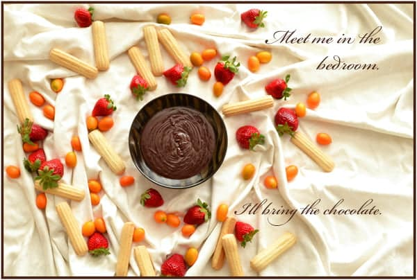 This is a free downloadable Valentine's Day Card with an image of chocolate fondue, strawberries and kumquats