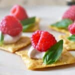 Easy Appetizer Recipe - Raspberry Basil Canapés - Get the recipe at cookthestory.com