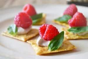 Easy Appetizer Recipe - Raspberry Basil Canapés - Get the recipe at cookthestory.com