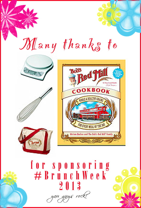 Thank you to our amazing #BrunchWeek sponsor @bobsredmill for contributing the Bob's Red Mill Kitchen Gift Pack for our giveaways. http://www.bobsredmill.com/