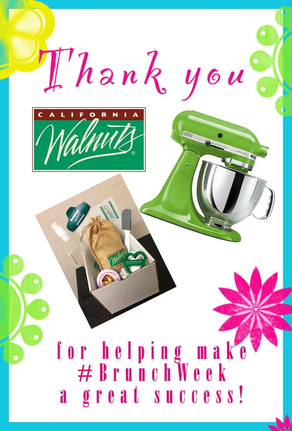 Thank you to our amazing #BrunchWeek sponsor @cawalnuts for contributing the KitchenAid Stand Mixer and Walnut Pirze Pack for our giveaways. http://www.walnuts.org/