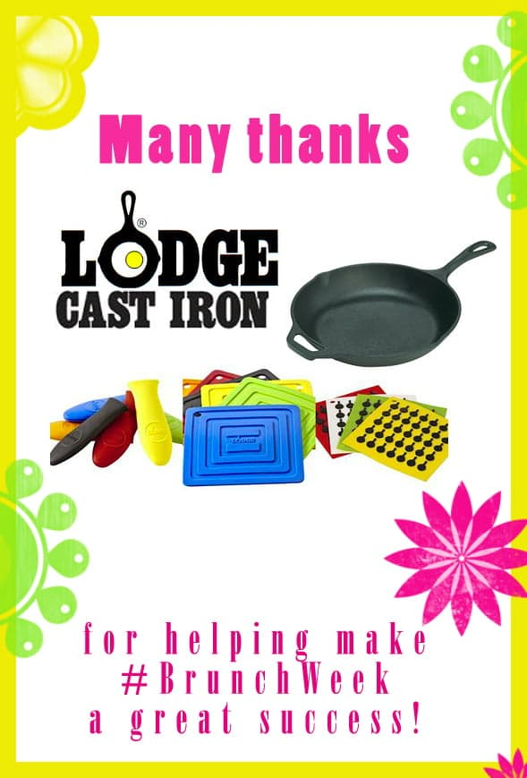 Thank you to our amazing #BrunchWeek sponsor Lodge Cast Iron for contributing Cast Iron Skillets and Silicone Sets for our giveaways. http://www.lodgemfg.com/ @lodgecastiron