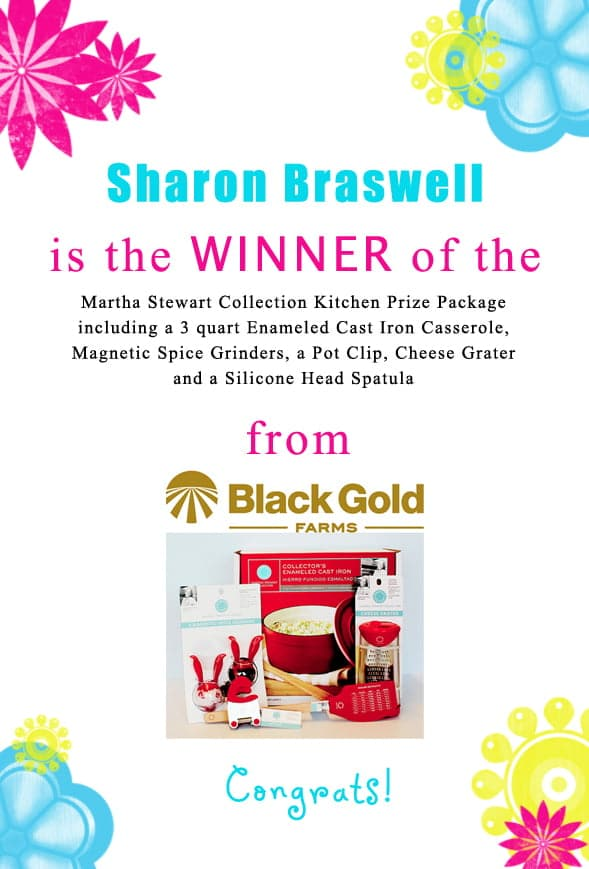 Congratulations Sharon Braswell! Contact christine@cookthestory.com subject line BrunchWeek Prize and we'll send the prize out to you.