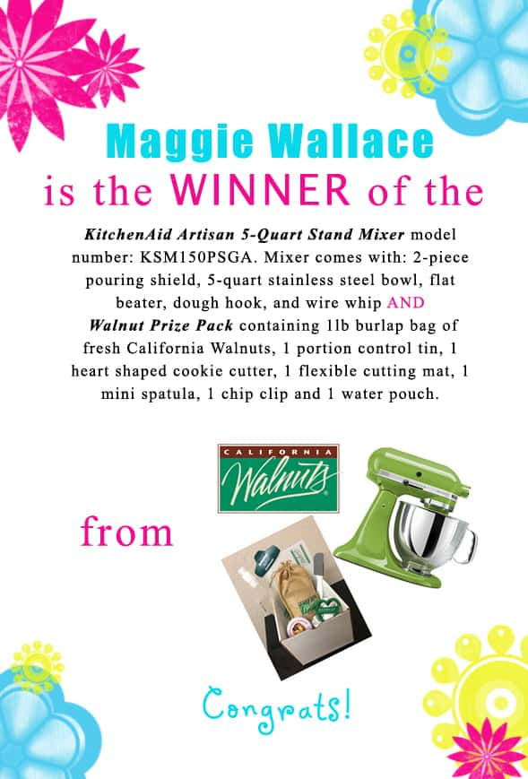 Congratulations Maggie Wallace for winning the @cawalnuts giveaway! Contact christine@cookthestory.com subject line BrunchWeek Prize and we'll send the prize out to you.