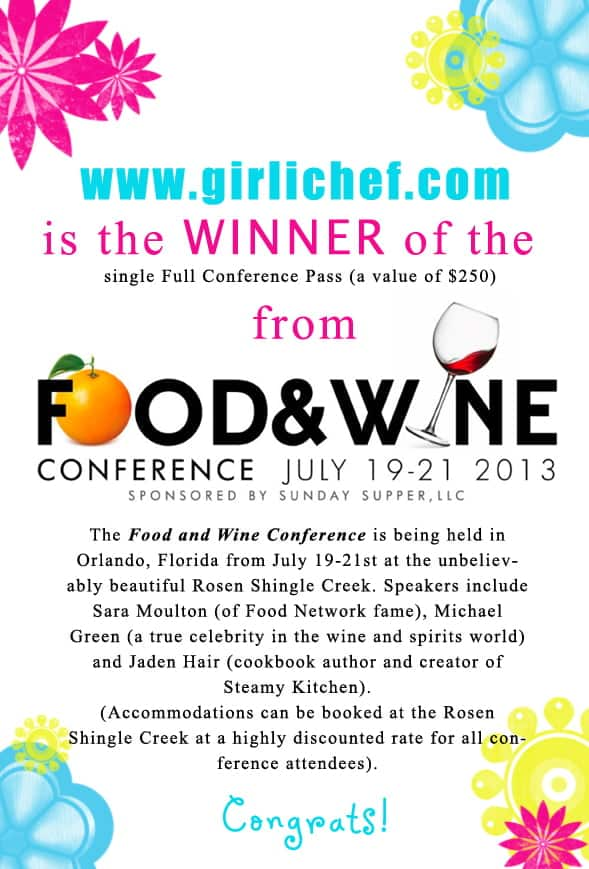 Congratulations @girlichef for winning the Food and Wine Conference ticket giveaway! Contact christine@cookthestory.com subject line BrunchWeek Prize and we'll send it out to you.