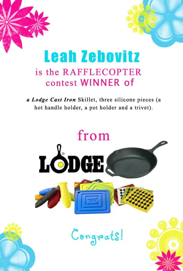 Congratulations Leah Zebovitz for winning the Lodge Cast Iron giveaway from our blogs' rafflecopters.! Contact christine@cookthestory.com subject line BrunchWeek Prize and we'll send it out to you.