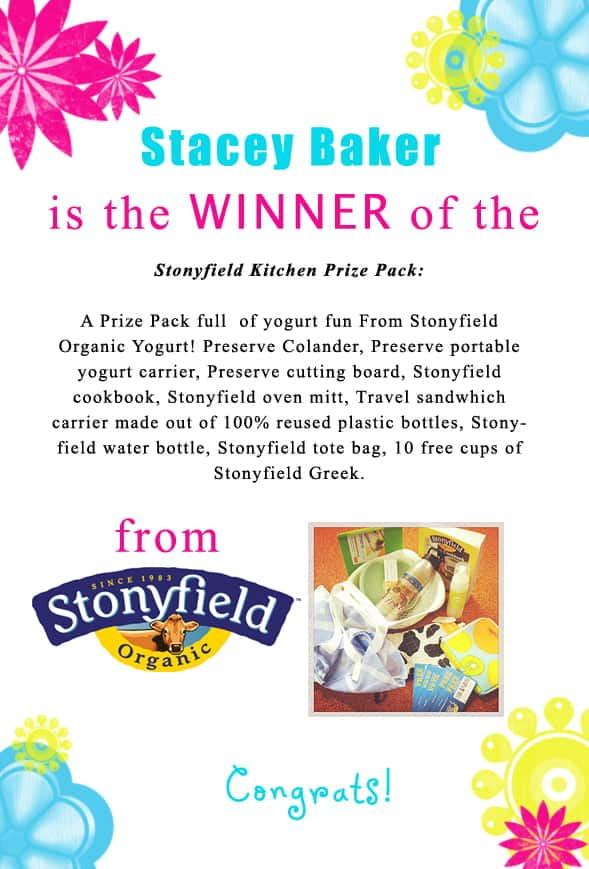 Congratulations Stacey Baker for winning the @stonyfield giveaway. Contact christine@cookthestory.com subject line BrunchWeek Prize and we'll send it out to you.