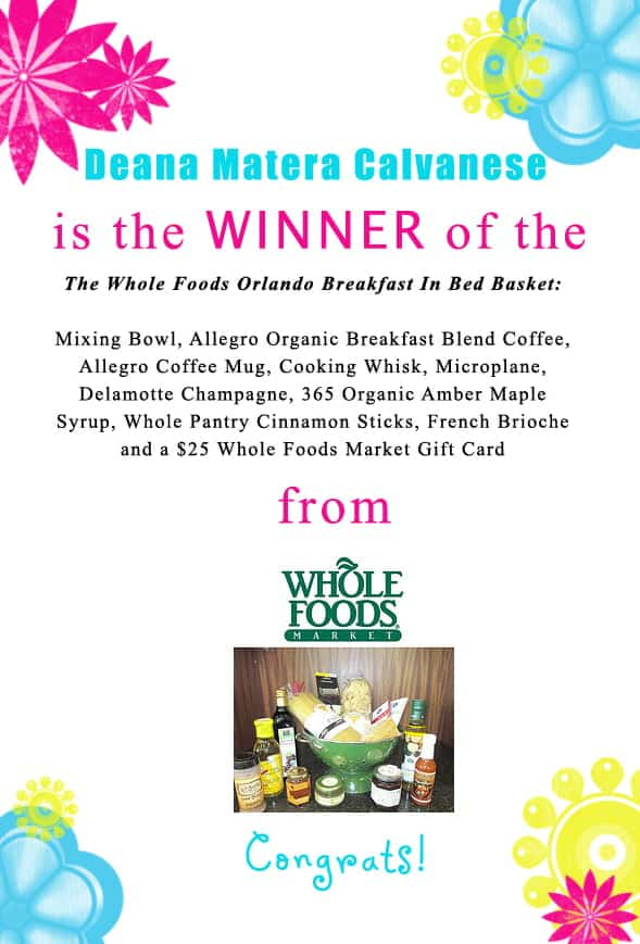 Congratulations Deana Matera Calvanese for winning the @wholefoods Orlando Breakfast in Bed Basket! Contact christine@cookthestory.com subject line BrunchWeek Prize and we'll send it out to you.