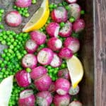 Cooked Radish Recipes, including Roasted Radishes with Peas, Dill and Lemon by @cookthestory