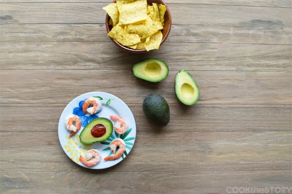 Shrimp Cocktail with Mexican Cocktail Sauce in Avocado Halves