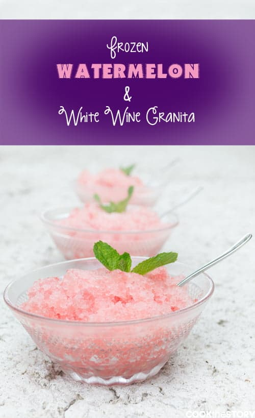 Frozen Watermelon-White Wine Granita
