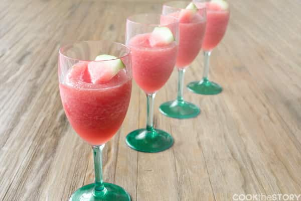An Easy Watermelon and Lemon Wine Slush Recipe. Get this refreshing drink recipe and more from www.cookthestory.com