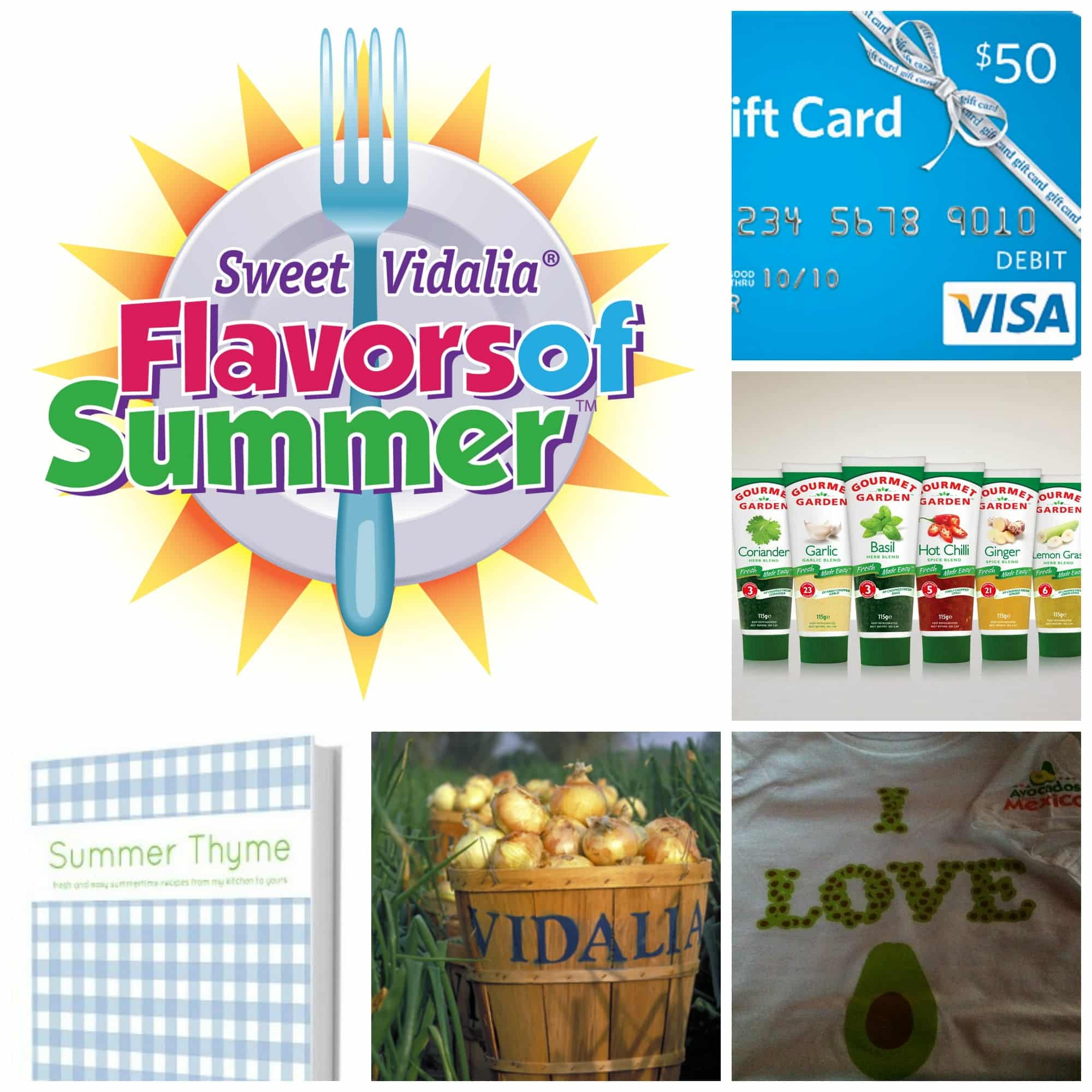 "The Virtual Picnic Prizes: 7 prize packs each containing a $50 Visa Gift Card, , an ""I Love Avocados"" t-shirt, the newly released cookbook ""Summer Thyme"" from blogger Jennifer Dempsey, fresh Vidalia onions, and squeezable herbs from Gourmet Garden."