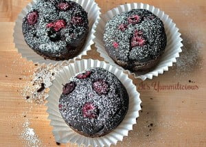 Vegan Chocolate Raspberry Avocado Cupcakes by It's Yummilicious