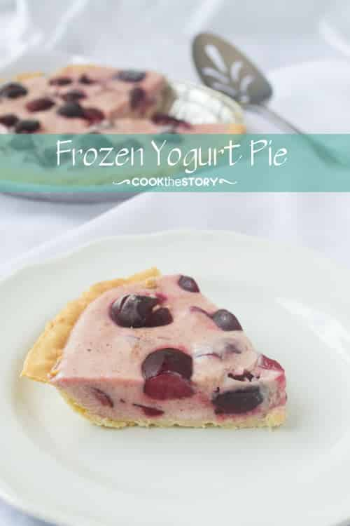This is a delicious and easy frozen yogurt pie recipe. It's a mixture of yogurt and fresh cherries frozen in a pie crust. Just mix, freeze, cut, and serve!