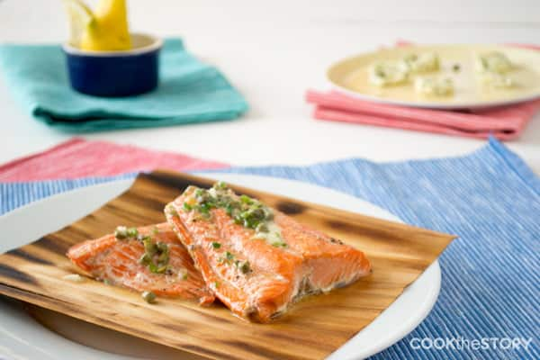 Cedar Grilled Salmon with Caper Chive Butter and a cedar gift pack giveaway